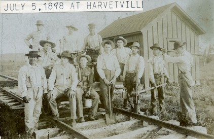 Railroad Construction at Harveyville, Kansas - c.1880
