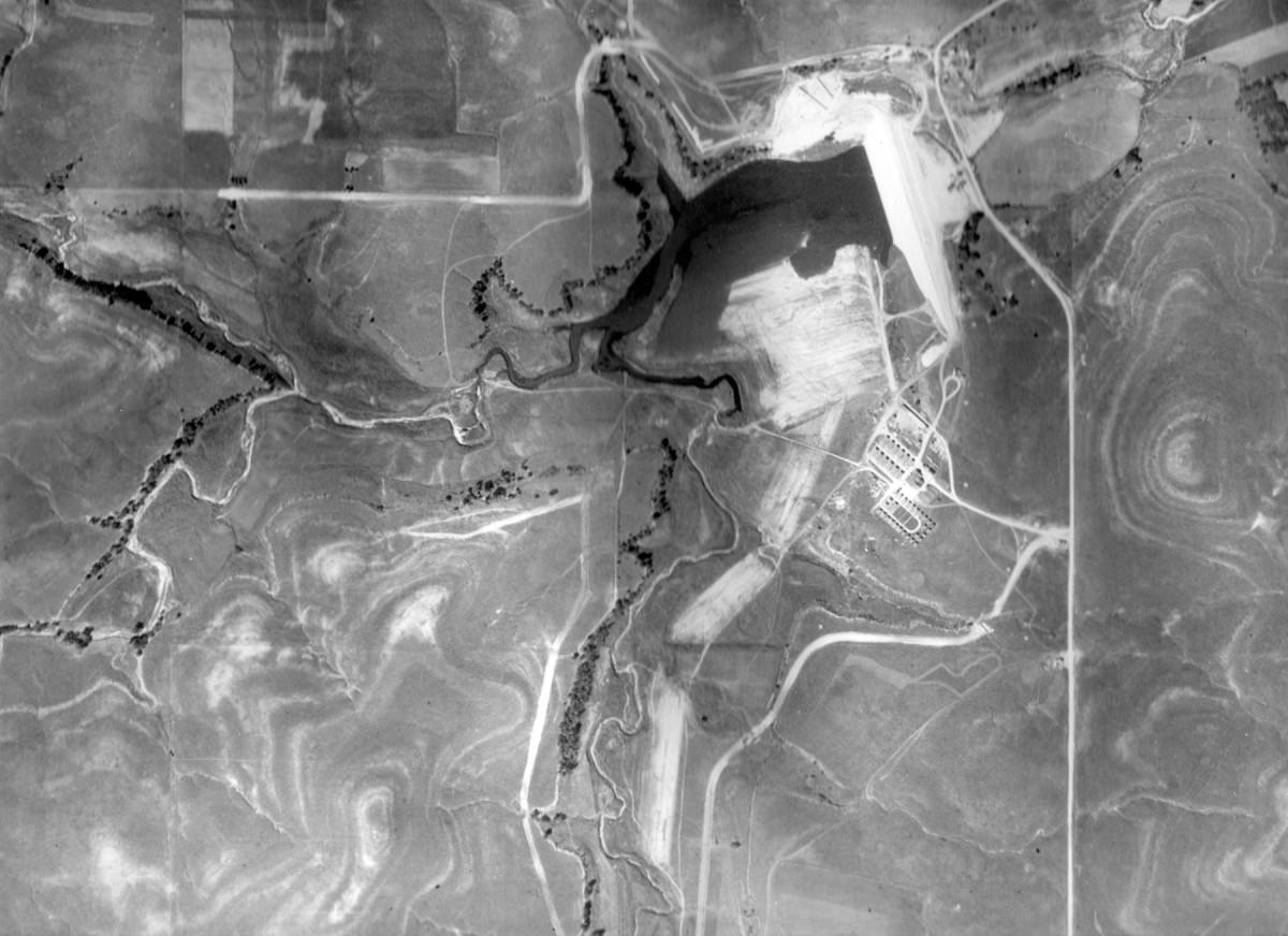 Lake Wabaunsee, 1937 Aerial View of Lake Construction