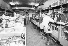 Interior View, Preston Dunn's Rexall Drug Store, Eskridge, Kansas