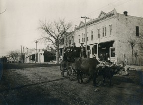 Wagon Pulled by Oxen, 200 Block Missouri Street, Alma, Kansas