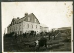 The Schepp barn was constructed by the Feiden brothers, notable Alma, Kansas stonemasons. This view was taken shortly after the barn was completed in 1905.