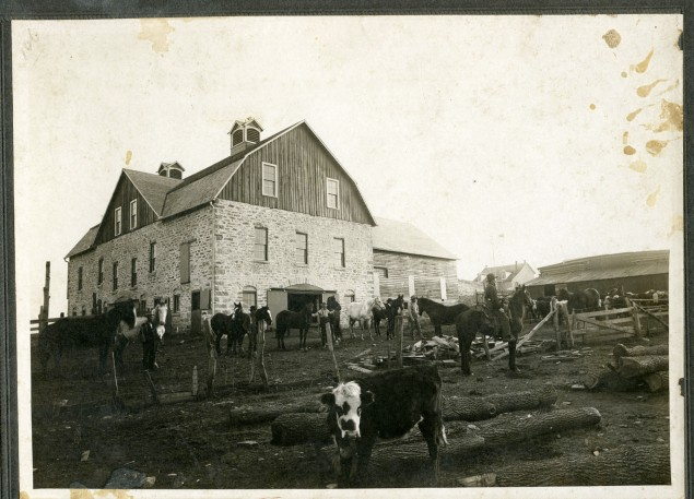 The Schepp barn was constructed by Alma stonemason, August Falk. This view was taken shortly after the barn was completed in 1905.