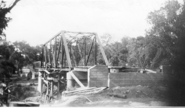 The new bridge over Mill Creek on Vera Road was nearing completion but still lacked the approaches when this photograph was taken.