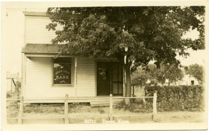 The Dover State Bank was located on Southwest 57th Street in Dover, Kansas, next door to Winter's store. Photo Courtesy Greg Hoots.