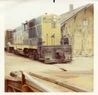 """The ATSF locomotive number 2761, also known as """"Old Polly"""" pulls out of the depot at Harveyville for the last time in this view from 1972."""