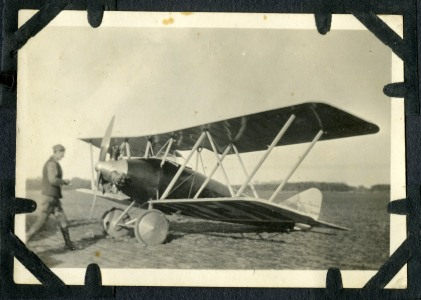 This is one of three photos of Albin Longren's Model AK airplane at Alma, Kansas while he was giving an airshow for a crowd This view, circa 1926 was photographed by Selma Steinmeyer Schultz. Photo Courtesy Keith Schultz.
