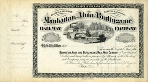 This stock certificate for $100 per share was prepared for issue by the Manhattan, Alma & Burlingame Railway Company. Courtesy Ed Hoover.