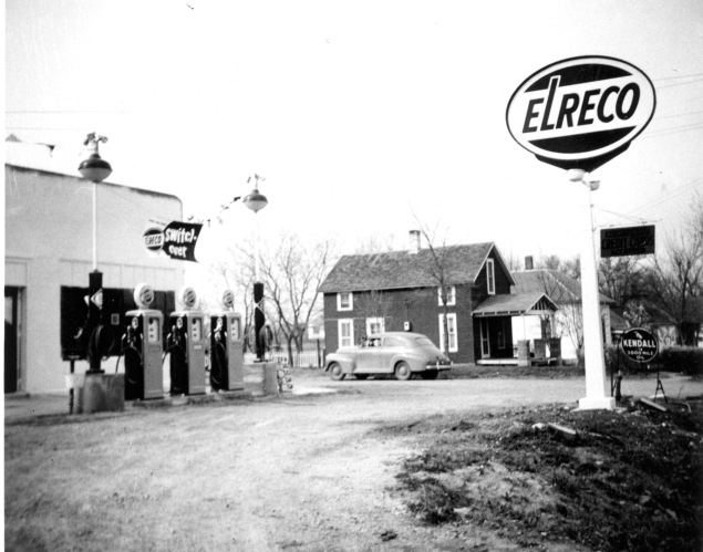 Dale and Hazel Kemp owned and operated this station located at 107 N. Main Street in Eskridge for 55 years. Elreco was a brand owned by Eldorado Refinery Corporation, which was purchased by Fina Petroleum in the mid-1950s. This view was taken in 1955. Photo courtesy Bob and Carol Kraus.