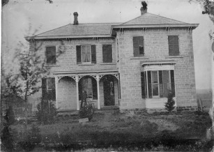 This native stone home was constructed for Ambrose Wade at Keene, Kansas in 1875. Wade was a very prominent rancher and cattle producer in Wabaunsee County. This photograph was created as a tintype. Photo Courtesy Robert Beach.
