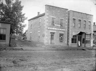 This Gus Meier photo, circa 1891-1899, shows the Alma Signal newspaper building, left, and Phil Birk's Meat Market. This photo was created from the lost attic negatives courtesy Paul Gronquist.