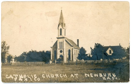 The Catholic Church at Newbury, seen in this 1907 real photo postcard, was built in 1884 and burned in 1921.
