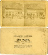 "This stereoview card was created by Louis Palenske in 1880 while working in a ""photography tent"" in the mining boom town of Rico, Colorado. In this view a burro train had arrived with supplies for the Davis & Raymond General Merchandise store. Photo courtesy Greg Hoots."