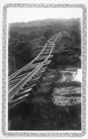 Atchison, Topeka & Santa Fe tracks outside of Alma, Kansas show considerable damage after flooding in 1936.