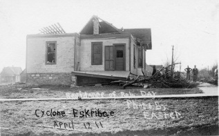 The home of Robert Day, located in East Eskridge, suffered serious damage from the April 12, 1911 tornado which struck the town.
