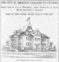 The front page of the April 14, 1911 issue of The Alma Enterprise shows an architect's drawing of the new Eskridge Public School which was damaged by an April 12th tornado.