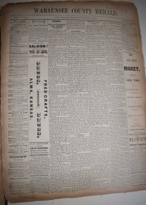 J.B. Campbell was publisher of the Wabaunsee County Herald when this issue, dated March 11, 1880,was printed. Notice the presence of advertising on the front page of the paper.