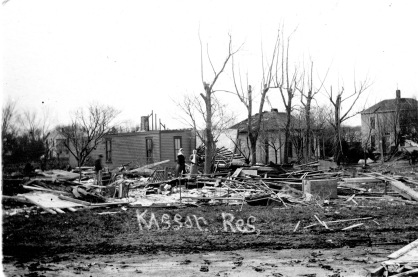 The Kasson residence in East Eskridge was destroyed by the 1911 tornado which struck the city. The Kassons were inside the home when the storm hit and were miraculously unhurt.