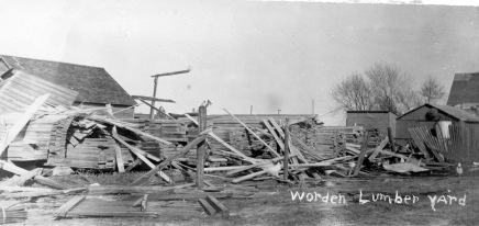 The Worden Lumber Yard was demolished by the April 12, 1911 tornado which struck Eskridge, Kansas. This photo was one of a series of photos of the storm damage by Easter Studio, Eskridge, Kansas.