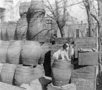 Beer kegs and empty beer cases bearing the Val. Blatz brand name are stacked behind Horne's saloon located at 226 Missouri Street in Alma, Kansas. Photo courtesy Eddie Meinhardt
