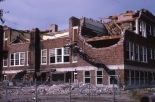 The 1966 tornado which ripped through Topeka destroyed the Central Park School beyond repair. Fortunately, school was not in session when the building was demolished by the tornado.