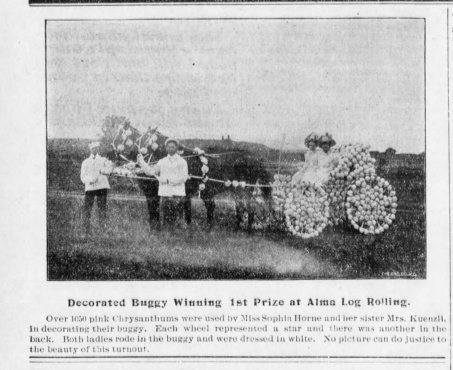 The September 14, 1900 edition of The Alma Enterprise displayed a photo of the winner of the decorated buggy category in the Woodman parade.