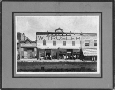 """Trusler Hardware, one of the first businesses established in the """"new town"""" of Eskridge, Kansas in 1880 is seen in this view, circa 1910."""