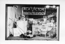 Dean Dunn photographed this night view of the display window at Dunn Home Supply in the early 1950s.