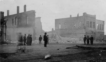 This real photo postcard, from the Dean Dunn collection, was taken the morning after a disastrous March 15, 1914 fire swept through the Eskridge business district.