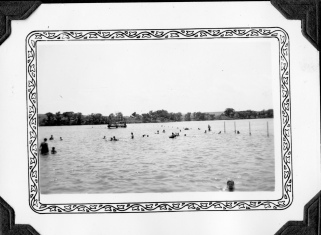 This photo by Dean Dunn shows the swimming area at Lake Wabaunsee and the floating swimmers' dock.