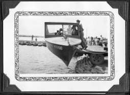 Dean Dunn photographed a boat being launched at Lake Wabaunsee in this view, circa 1940.