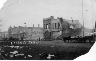 A massive fire swept down the west side of Main Street in Eskridge, Kansas on March 15, 1914, destroying nine buildings in the business district.