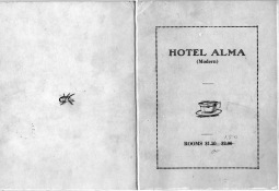 This front cover of a menu from the Hotel Alma shows rooms reduced in price from $1.50-$2.00 to $1.00 and $1.50. Menu courtesy Ervan Stuewe.