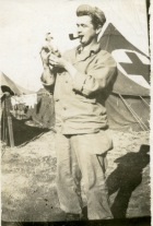 Daddy holds a pet rabbit he befriended at Anzio, Italy. This photo was taken on the Anzio beachhead on his 22nd birthday.