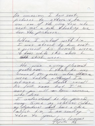 Page 2 of the letter by Louise Lemons concerning her photos of the Slim Sargent home at Dover, Kansas.