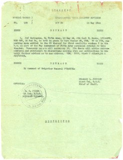 Daddy's orders to extract him from the combat theater bore the date 16 May, 1944.