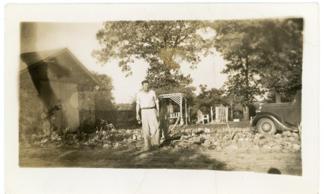 Seen here with a trowel in his hand, Carl E. Hoots was an electrician by trade.