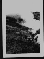 Allied troops put down a smoke screen in the rough mountainous terrain in Sicily in this view from August of 1943.