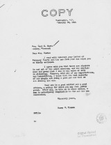 """This copy of """"the Truman letter"""" was permanently stored at the Truman Presidential Library in Independence, Mo."""