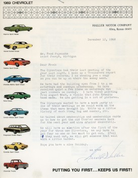 This letter from Alma, Kansas Chevrolet dealer, Gerald Haller to Michigan businessman Fred Palenske, dated December 12, 1968 summarizes the final meeting of the calendar year. Haller served as the first Treasurer of the Wabaunsee County Historical Society.