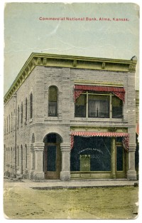This colorized real photo postcard of the Commercial National Bank in Alma, Kansas dates from about 1907.
