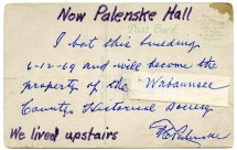 Reverse of postcard of the Commercial National Bank with Fred C. Palenske's handwritten, signed note.