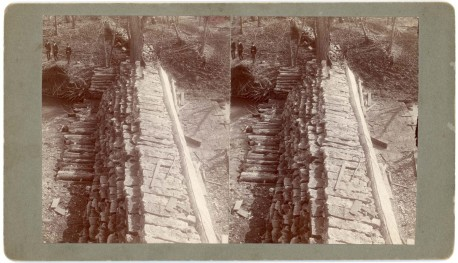 The new upper dam at Palenske's flour mill was photographed as a stereo view by Alma photographer Gus Meier, circa 1905.