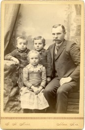 Louis Palenske poses with his children in this Gus Meier photo from about 1895. From left are Fred Palenske, Minnie Palenske, Max Palenske, and Louis Palenske. Photo courtesy the Palenske family.