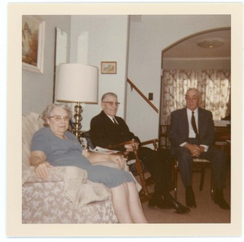 Minnie Zwanziger, left, and her husband, Martin, center, entertain Minnie's brother, Fred Palenske at their Alma, Kansas home, circa 1966. Photo courtesy the Palenske family.