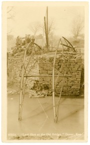 The old bridge crossing Mission Creek at Dover is seen being demolished in this view by Zercher Book and Stationery, circa 1908.