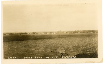 """This M. L. Zercher Book and Stationery view of Dover, Kansas, circa 1910, is titled, """"Dover Kans. in the Distance."""""""