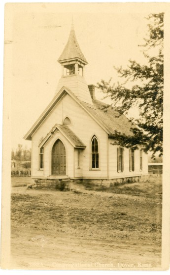 This real photo postcard by Zercher Book and Stationery shows the Congregational Church at Dover, Kansas as it appeared in 1910.