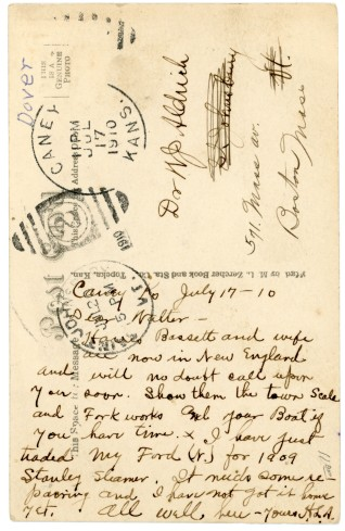 The writer of this postcard, dated July 17, 1910, reports that he had just traded his Ford for a Stanley Steamer but added that he had not gotten the Stanley yet, as it needed some work.