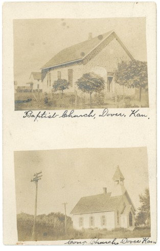This real photo postcard is an undivided type, circa 1906, and shows two churches at Dover, Kansas, the Baptist Church and the Congregational Church.