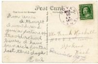 """This postcard, dated March 10, 1910, refers to the """"old school house"""" at Dover, Kansas."""
